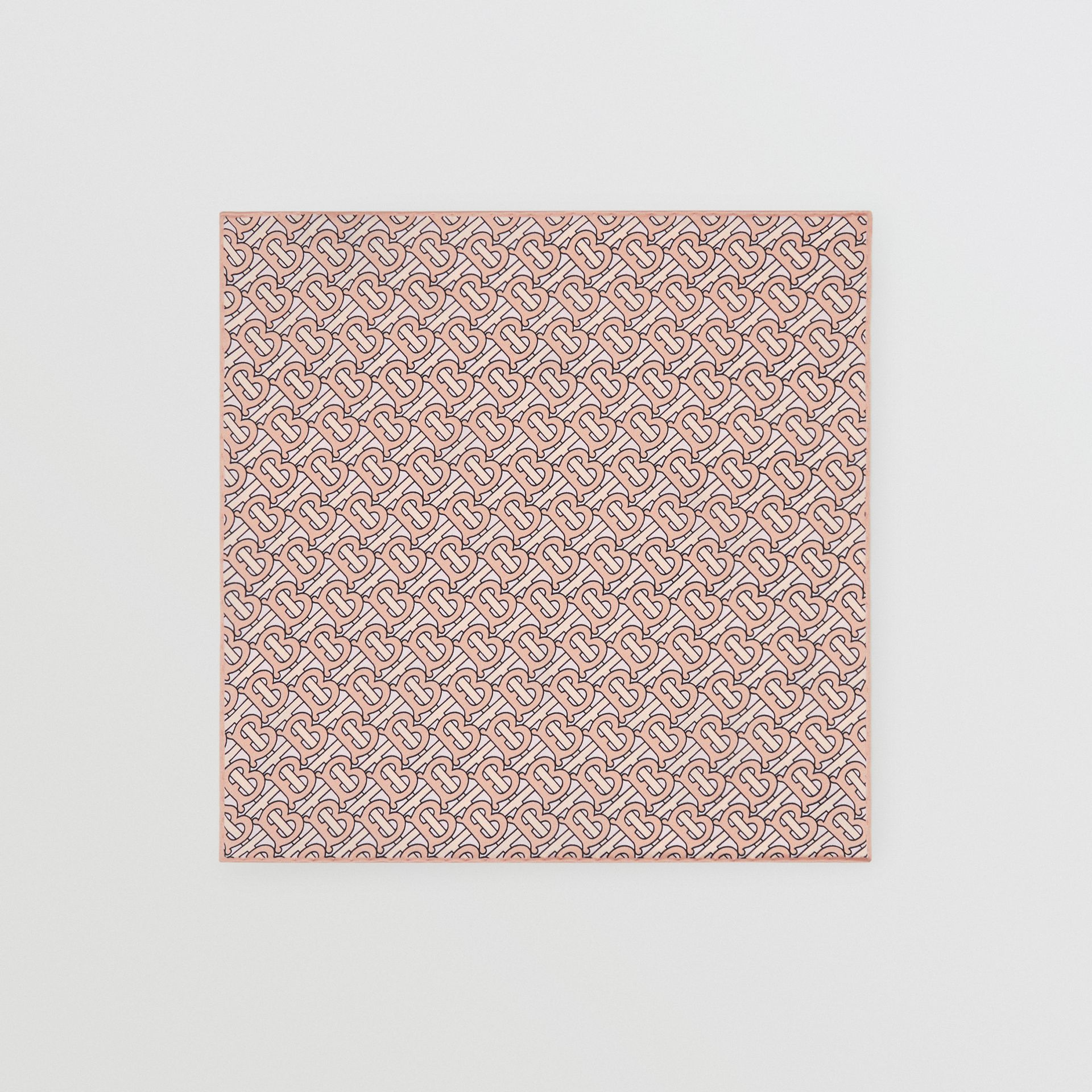 Monogram Print Silk Satin Pocket Square in Copper Pink - Men | Burberry Australia - gallery image 3