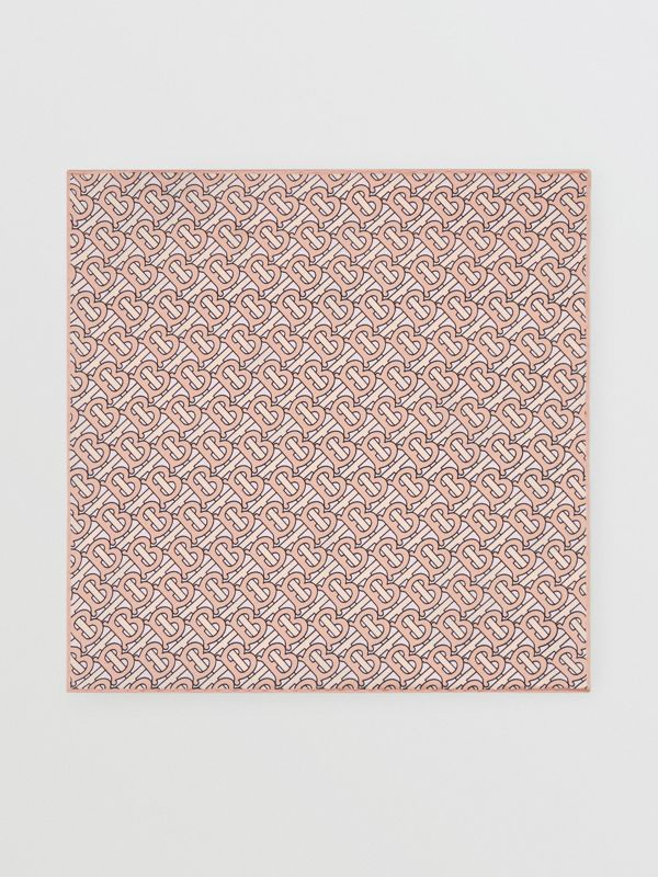 Monogram Print Silk Satin Pocket Square in Copper Pink - Men | Burberry - cell image 3
