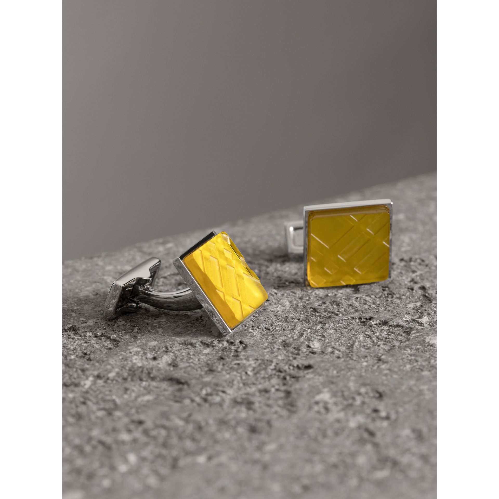 Check-engraved Square Cufflinks in Bright Yellow - Men | Burberry Singapore - gallery image 0