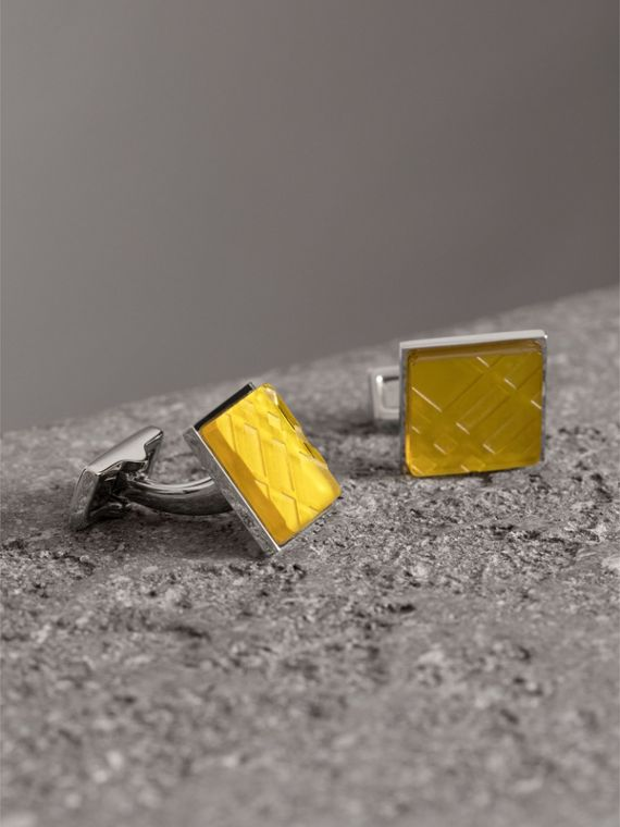Check-engraved Square Cufflinks in Bright Yellow