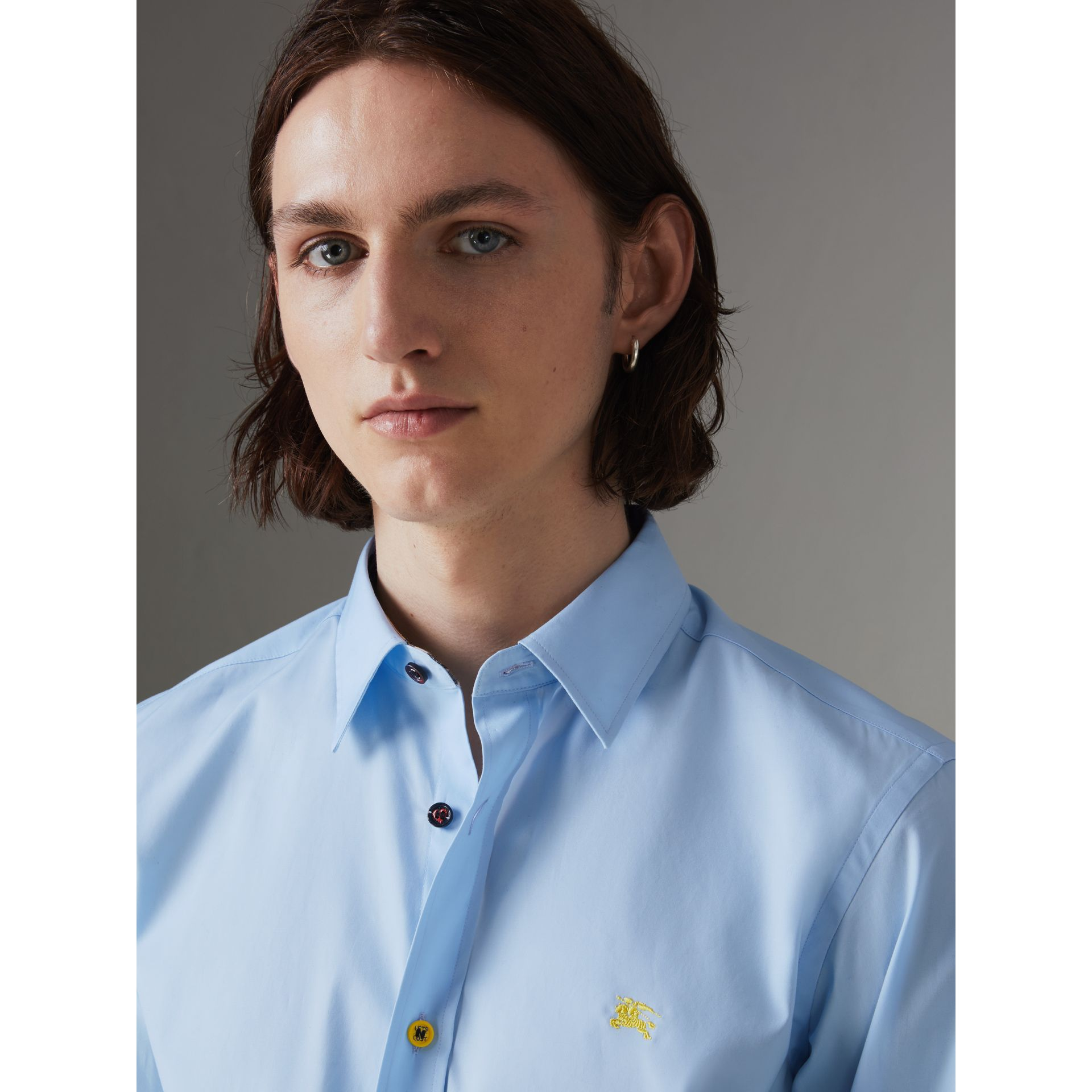 Contrast Button Stretch Cotton Shirt in Pale Blue - Men | Burberry Singapore - gallery image 1