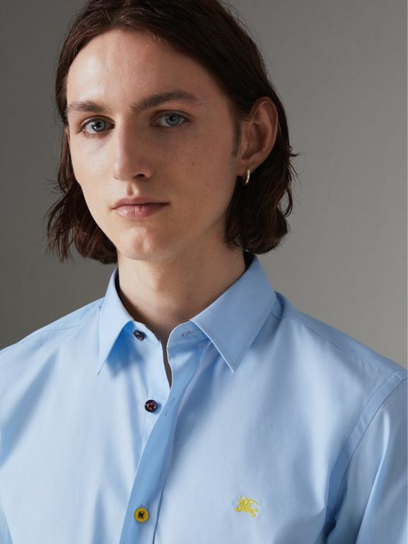 Contrast Button Stretch Cotton Shirt in Pale Blue - Men | Burberry Singapore - cell image 1