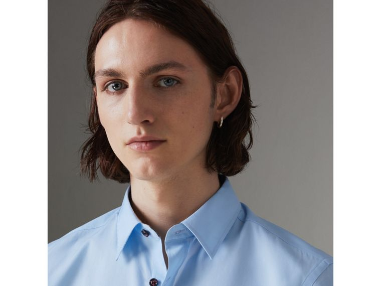 Contrast Button Stretch Cotton Shirt in Pale Blue - Men | Burberry Australia - cell image 1