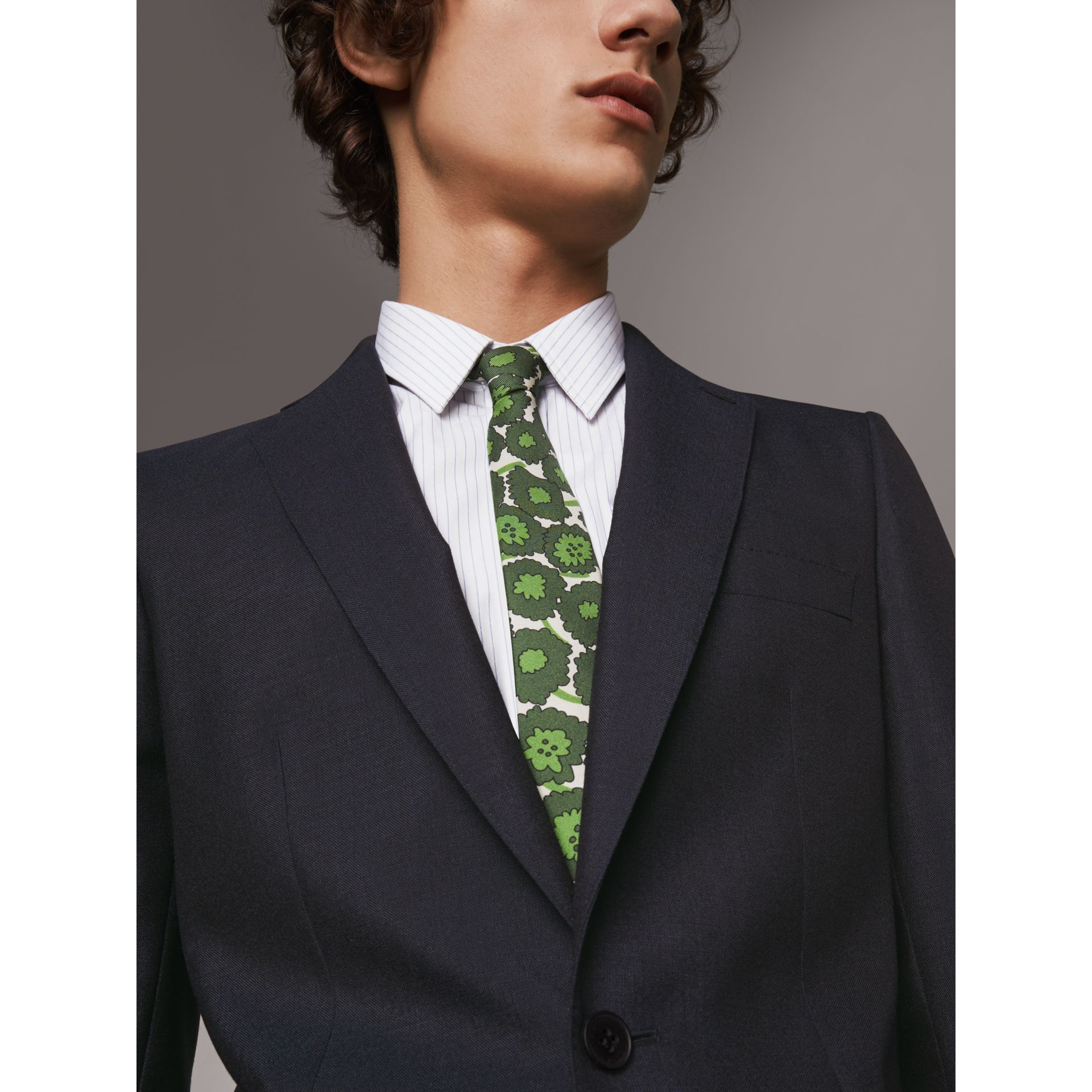Slim Fit Mohair Half-canvas Suit in Navy - Men | Burberry - gallery image 4