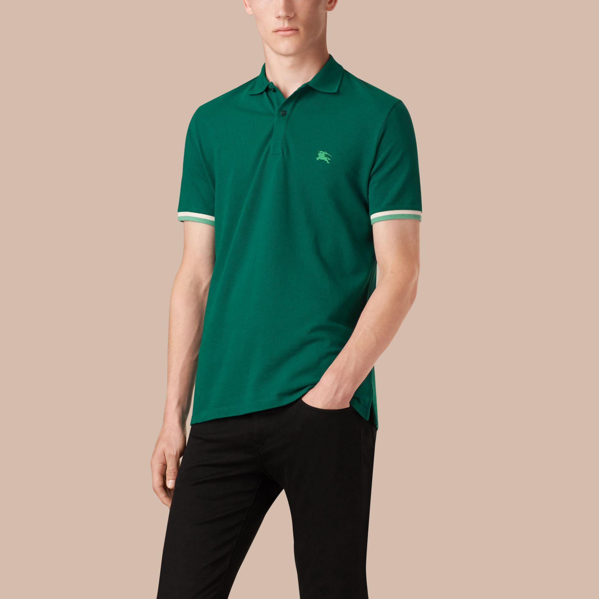 Deep viridian green Contrast Cuff Cotton Piqué Polo Shirt Deep Viridian Green - gallery image 1