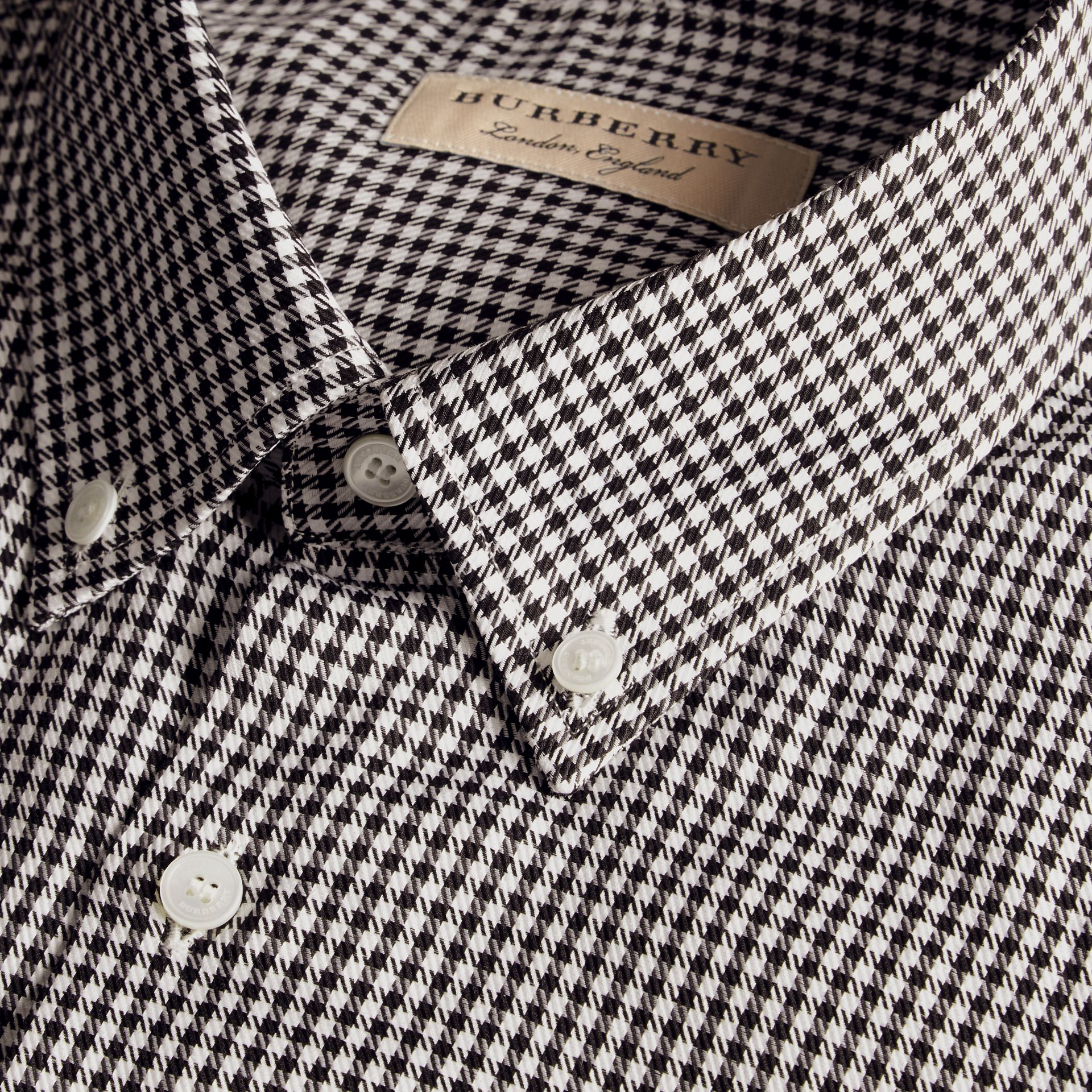 Black Modern Fit Button-down Collar Check Cotton Shirt - gallery image 2