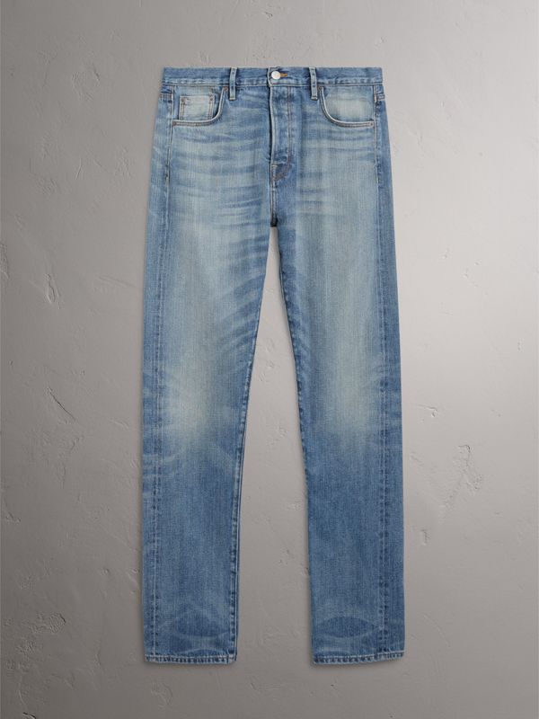 Relaxed Fit Washed Japanese Selvedge Denim Jeans in Light Indigo - Men | Burberry - cell image 3