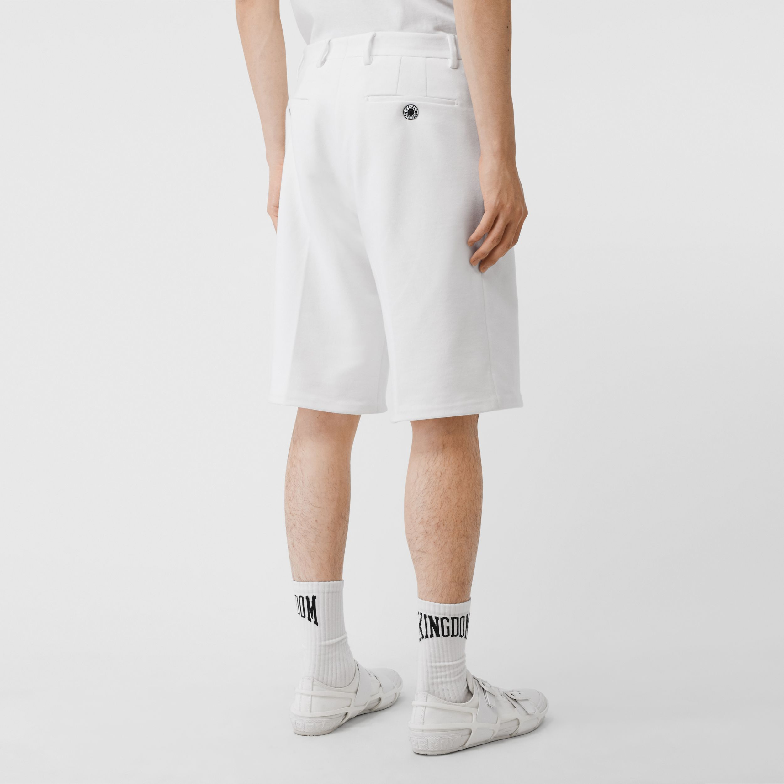 Globe Graphic Cotton Tailored Shorts in Optic White - Men | Burberry - 3