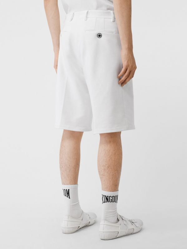 Globe Graphic Cotton Tailored Shorts in Optic White | Burberry - cell image 2