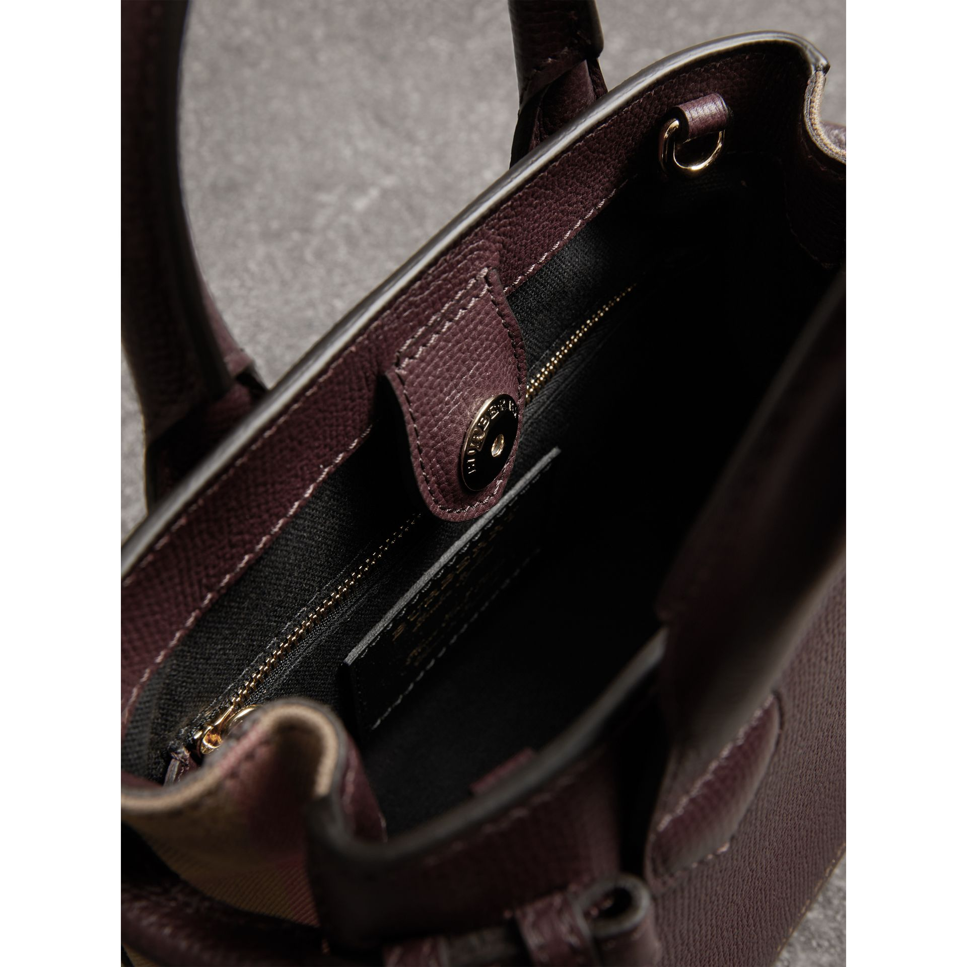 The Baby Banner in Leather and House Check in Mahogany Red - Women | Burberry Singapore - gallery image 5