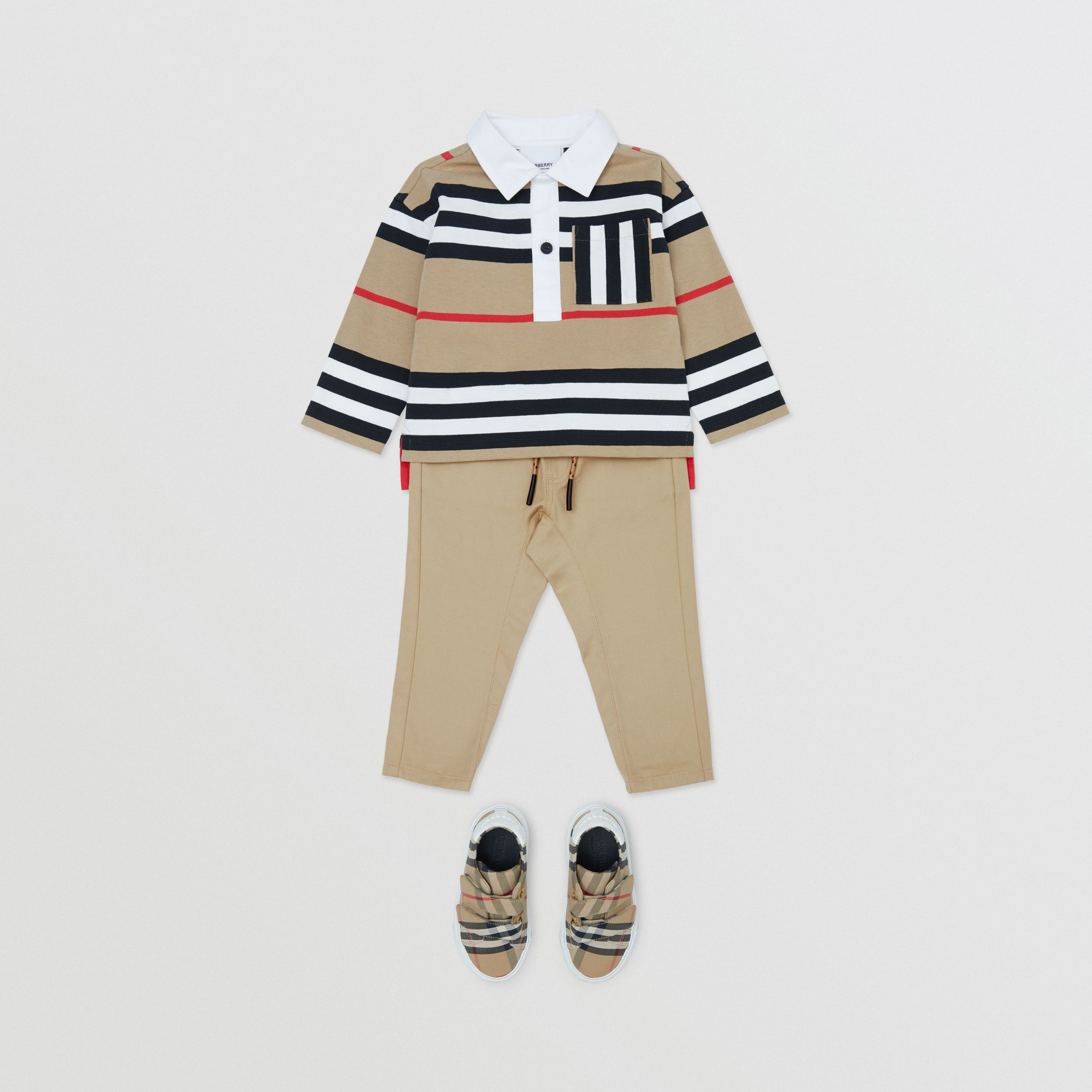 Icon Stripe Detail Cotton Twill Drawcord Trousers in Honey - Children | Burberry - 3
