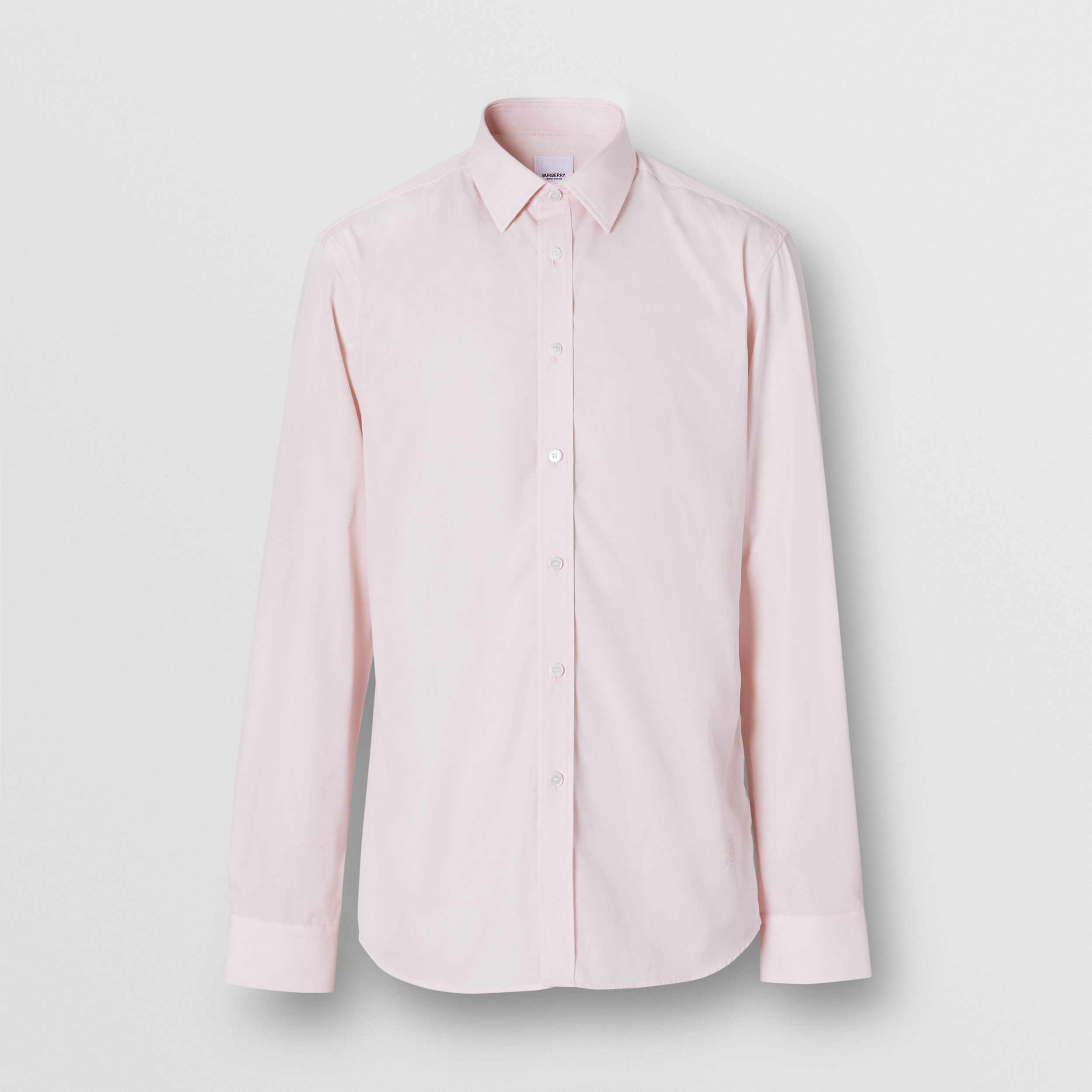 Slim Fit Monogram Motif Cotton Poplin Shirt in Alabaster Pink - Men | Burberry - 4