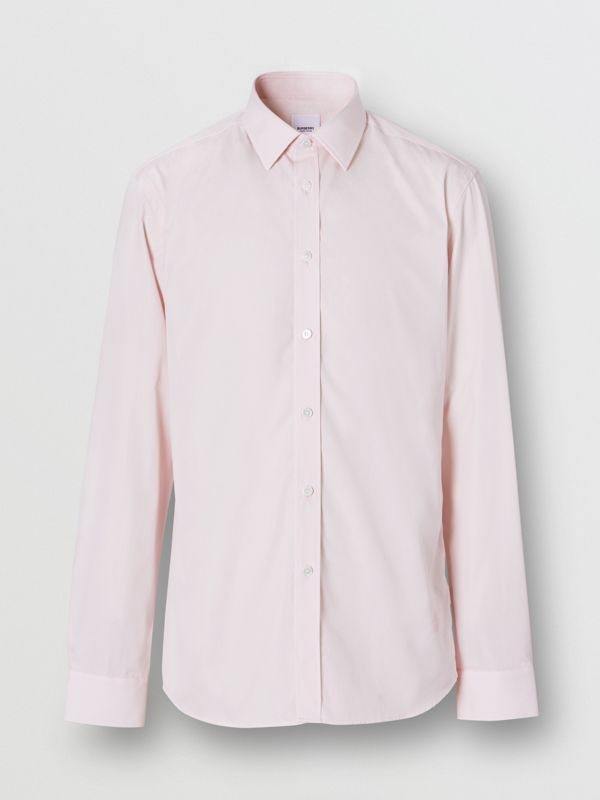 Slim Fit Monogram Motif Cotton Poplin Shirt in Alabaster Pink - Men | Burberry - cell image 3