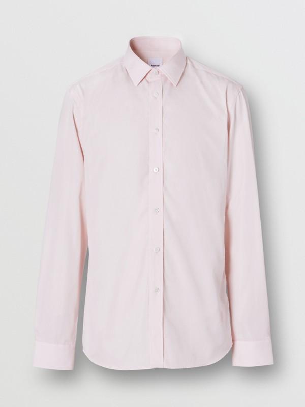 Slim Fit Monogram Motif Cotton Poplin Shirt in Alabaster Pink - Men | Burberry Hong Kong S.A.R - cell image 3