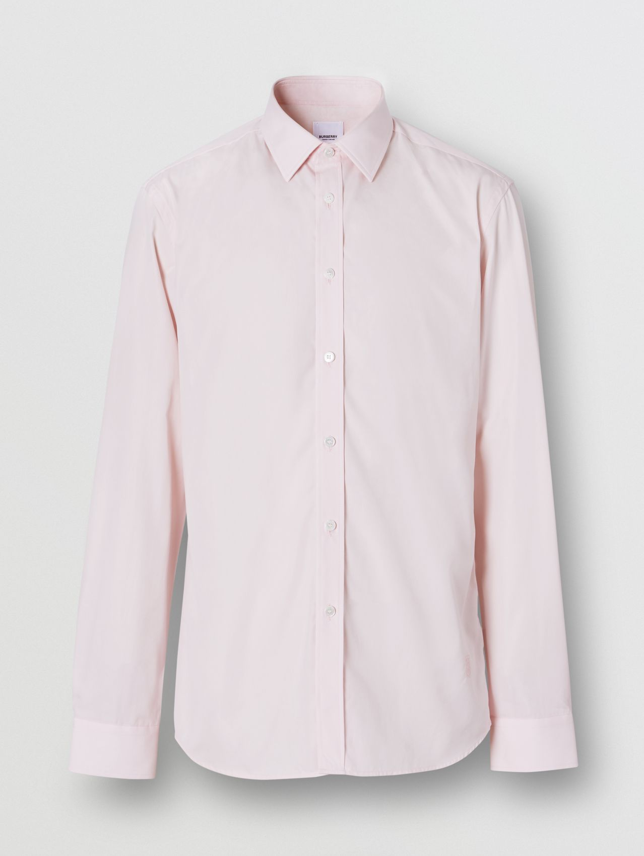 Slim Fit Monogram Motif Cotton Poplin Shirt in Alabaster Pink