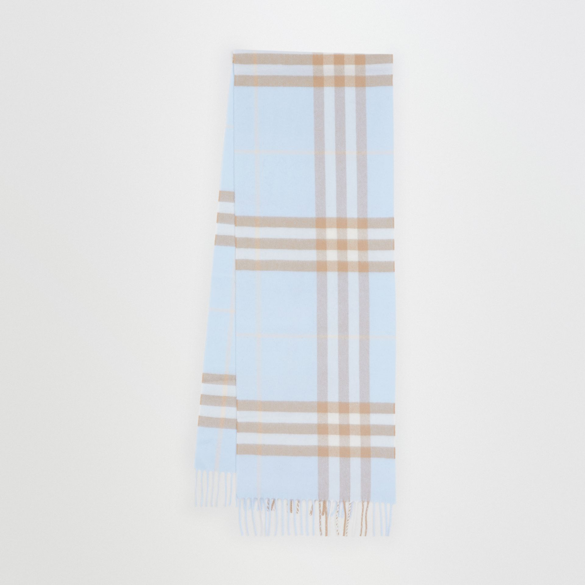 The Classic Check Cashmere Scarf in Blue | Burberry Singapore - gallery image 0