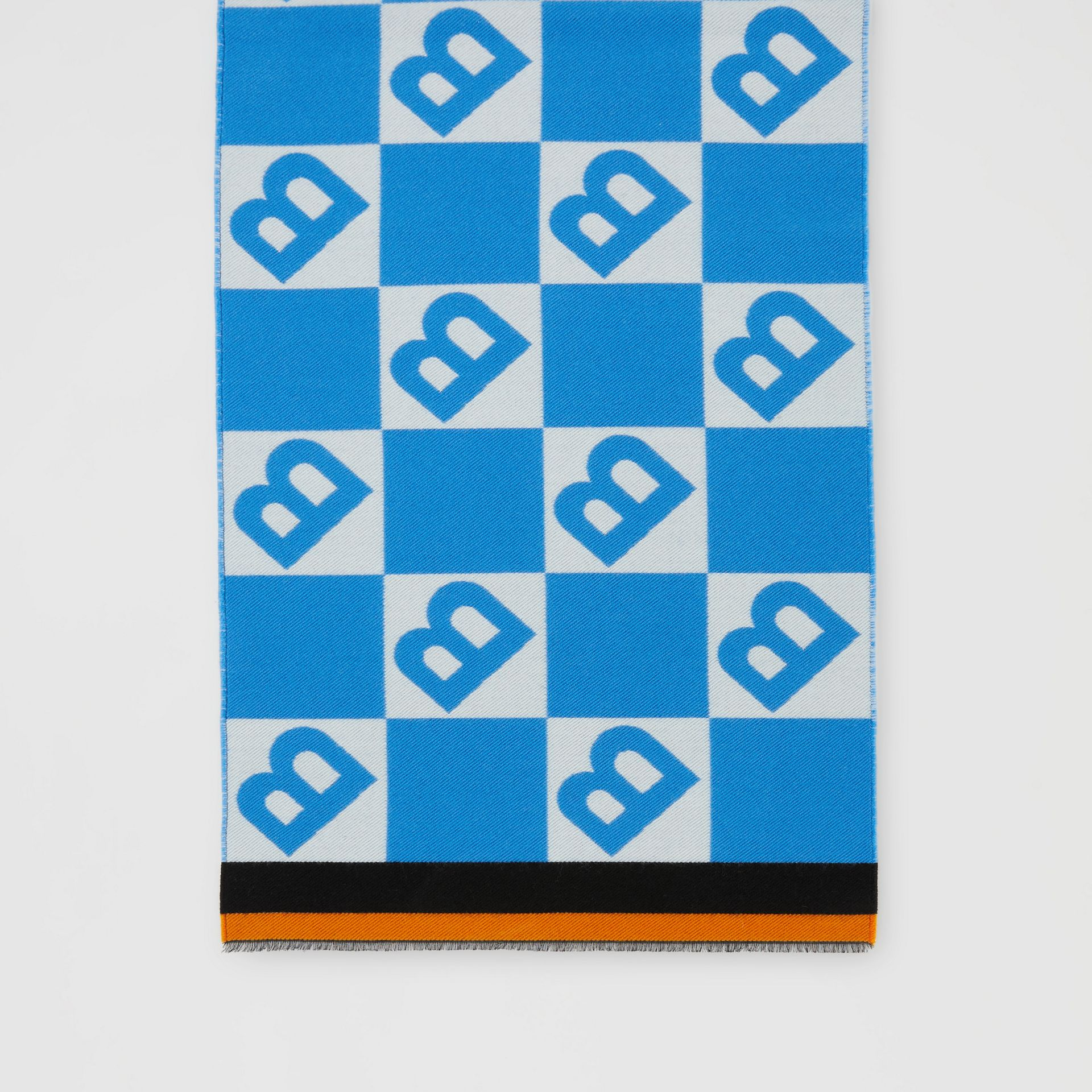 Contrast Logo Graphic Wool Silk Jacquard Scarf in Azure Blue | Burberry - gallery image 4
