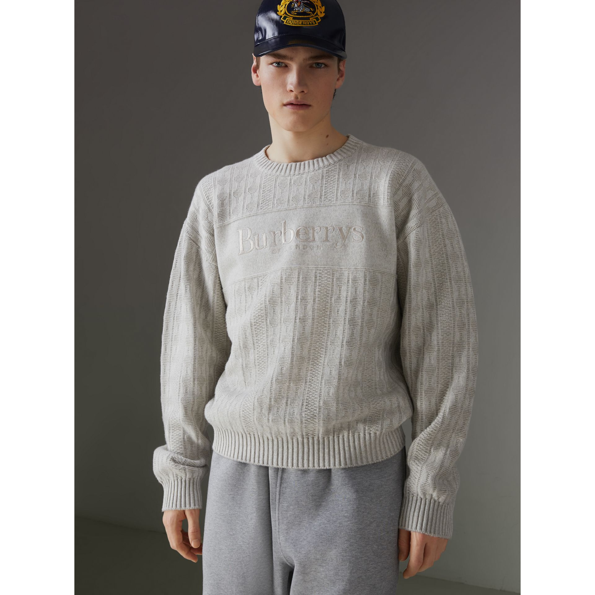 Reissued Lambswool Cotton Sweater in Light Grey Melange - Men | Burberry Singapore - gallery image 5