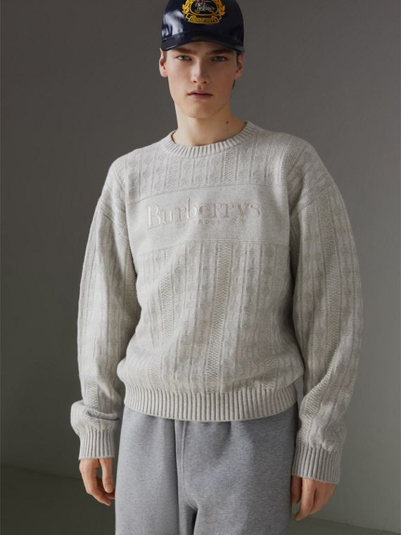 Reissued Lambswool Cotton Sweater in Light Grey Melange