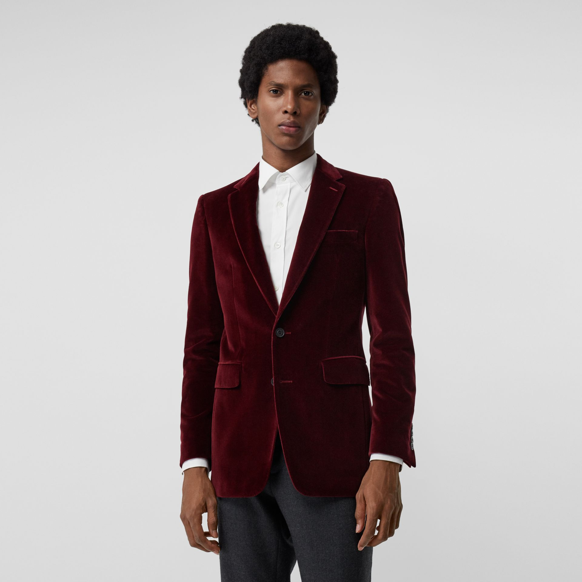 Classic Fit Velvet Tailored Jacket in Burgundy - Men | Burberry - gallery image 6