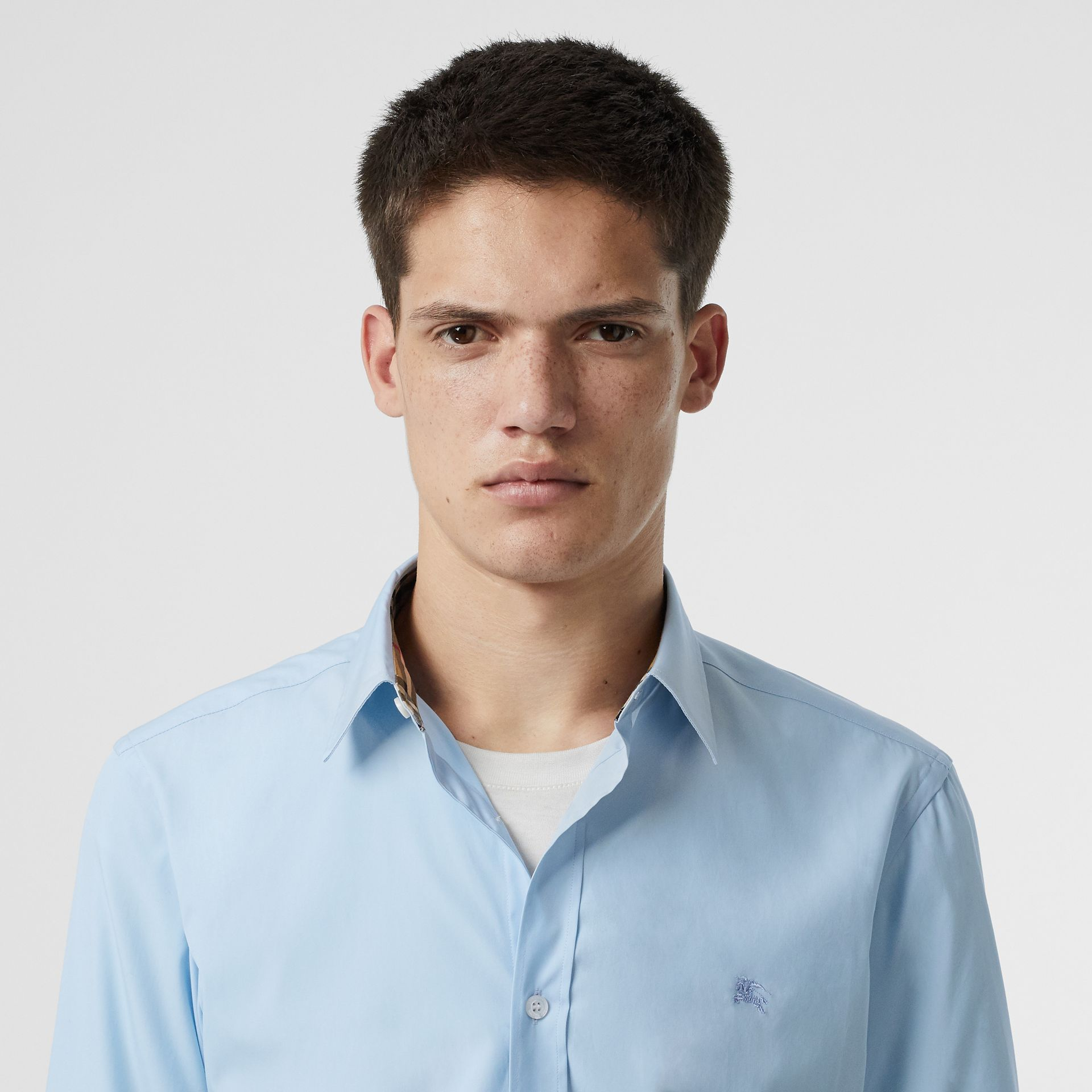 Stretch Cotton Poplin Shirt in Pale Blue - Men | Burberry United Kingdom - gallery image 1