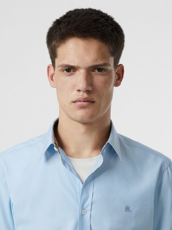 Stretch Cotton Poplin Shirt in Pale Blue - Men | Burberry Australia - cell image 1