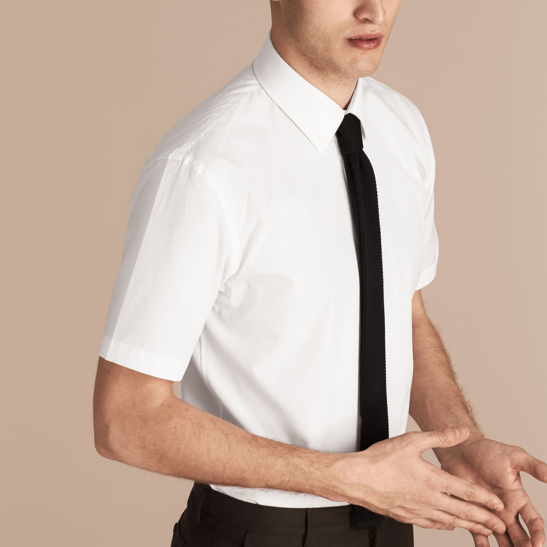 Modern Fit Short-sleeved Cotton Poplin Shirt - Men | Burberry - gallery image 6