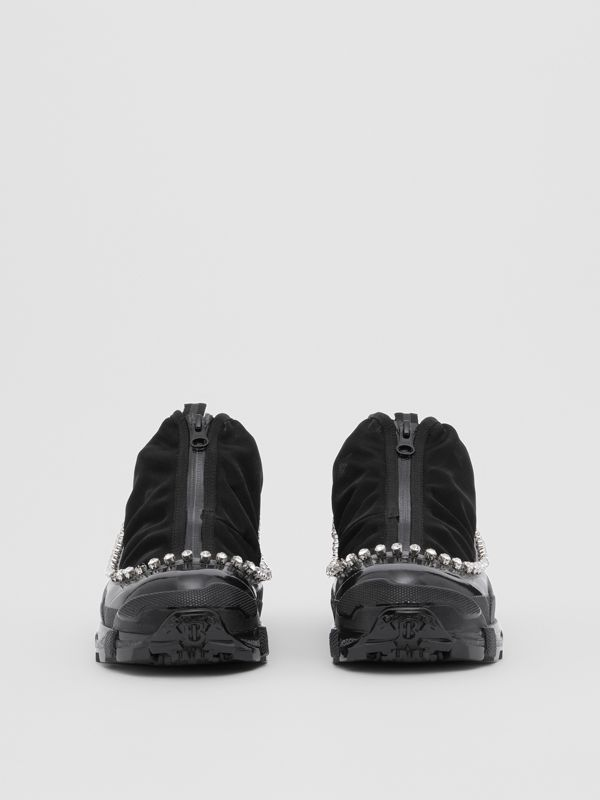 Crystal Detail Mesh, Nylon and Suede Arthur Sneakers in Black - Women | Burberry - cell image 3