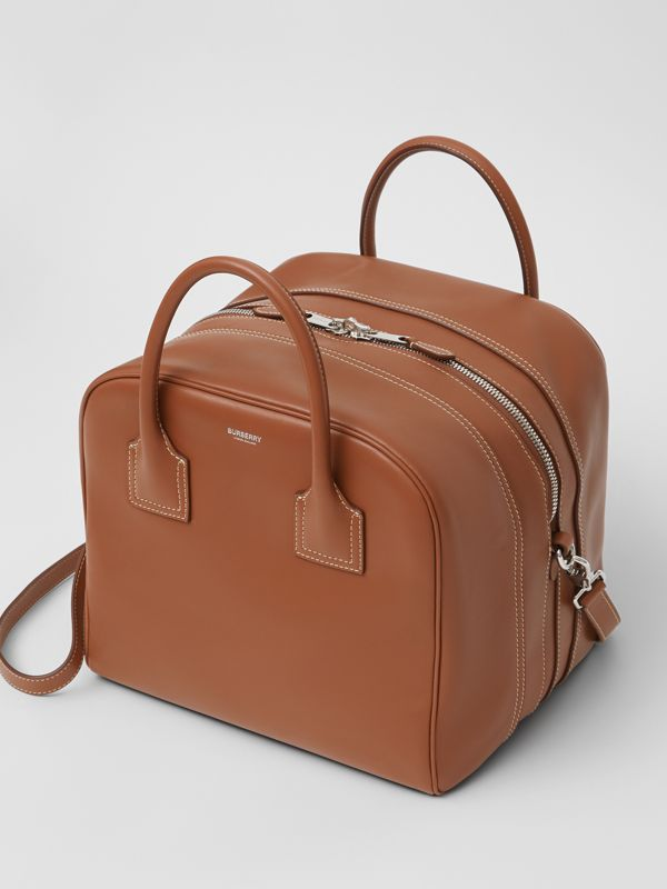 Medium Leather Cube Bag in Malt Brown - Women | Burberry - cell image 3