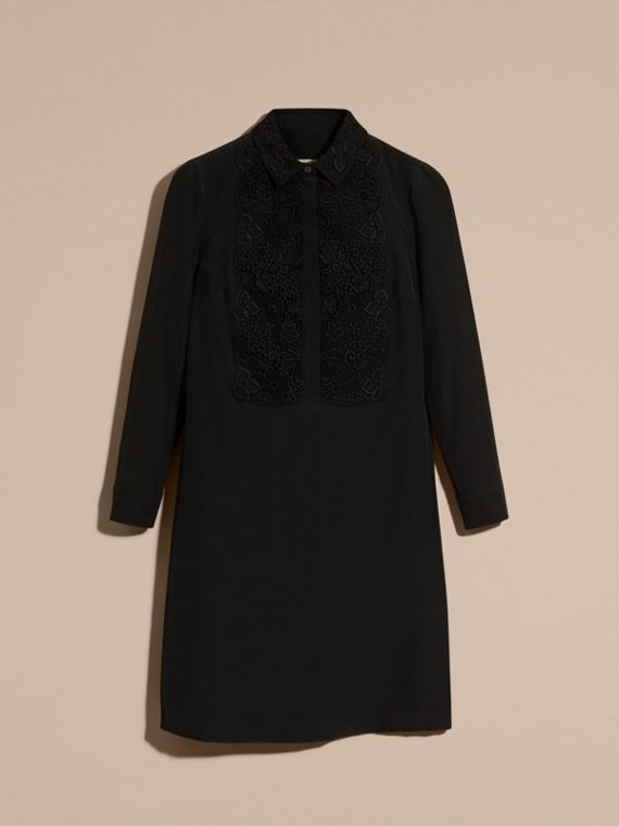 Black Floral Lace Bib Silk Shirt Dress - cell image 3