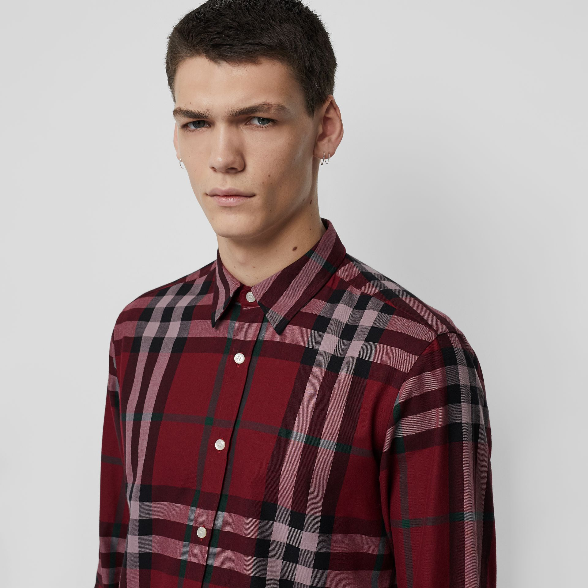 Check Cotton Flannel Shirt in Crimson - Men | Burberry - gallery image 1