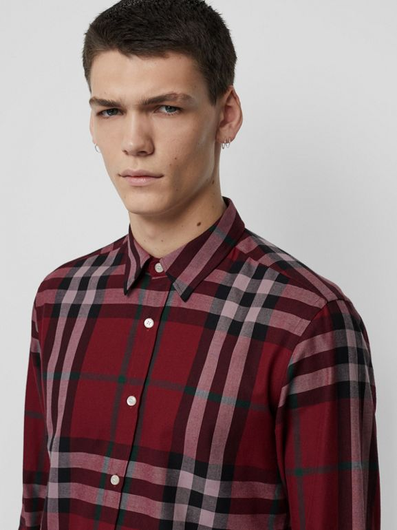 Check Cotton Flannel Shirt in Crimson - Men | Burberry Canada - cell image 1