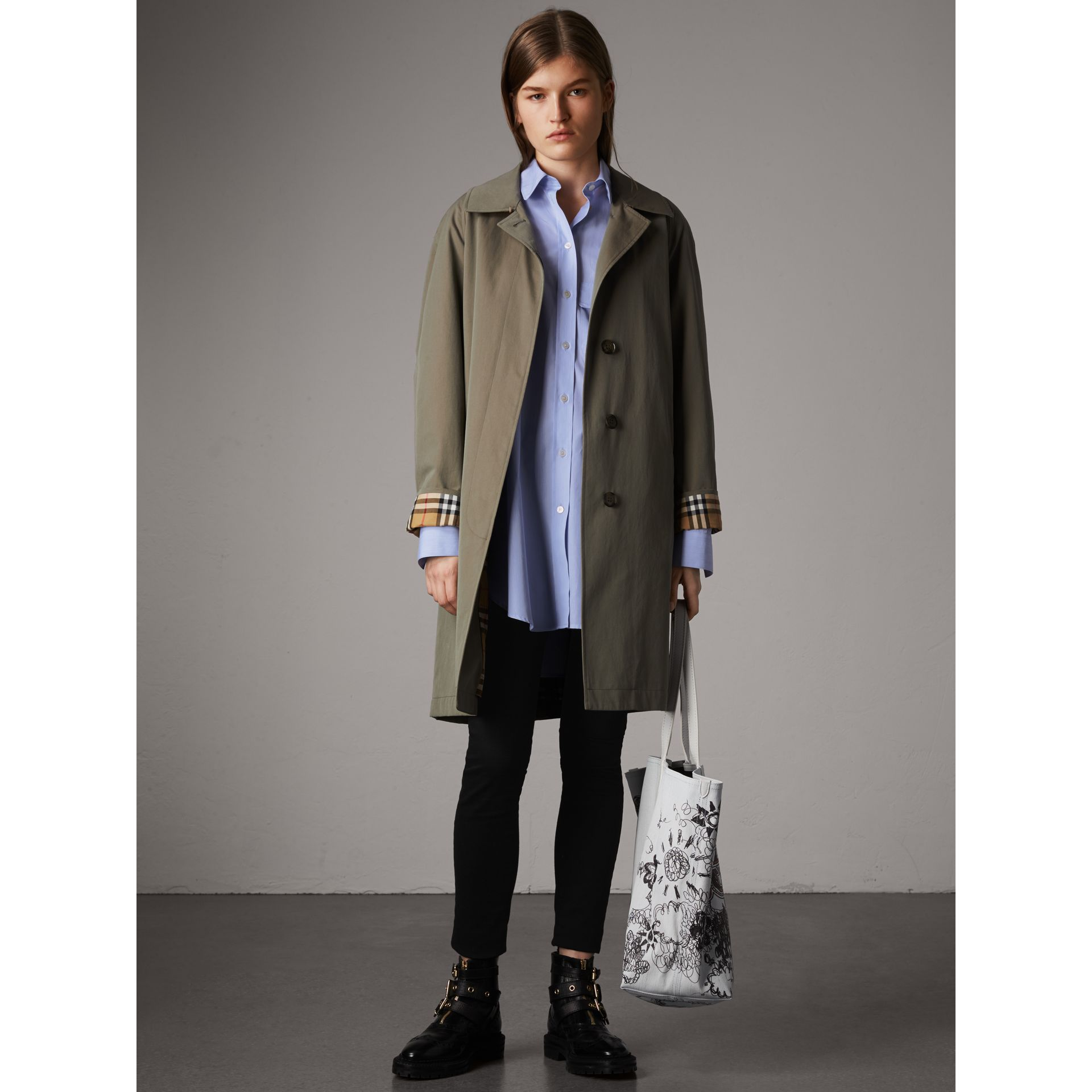 Double Pocket Cotton Oversize Shirt in Pale Blue - Women | Burberry - gallery image 5