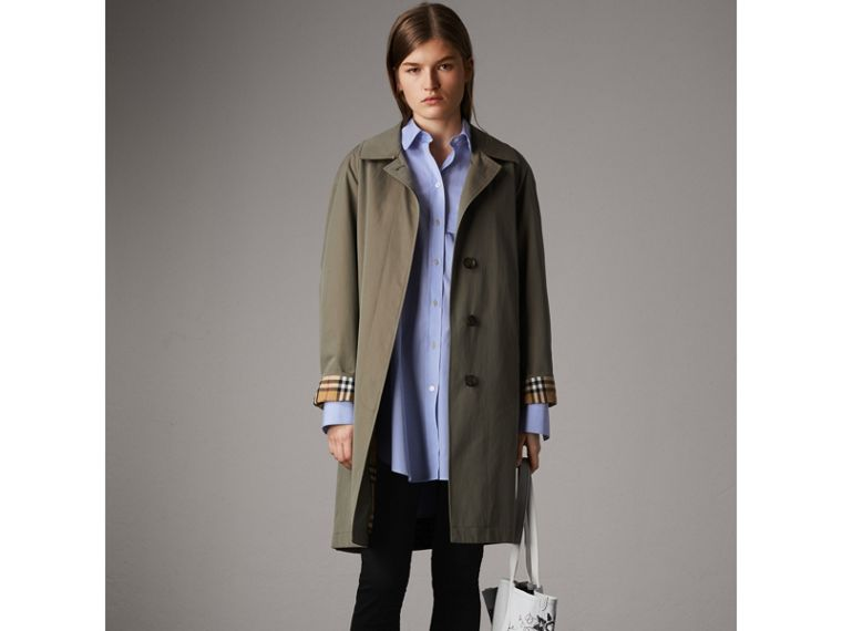 Double Pocket Cotton Oversize Shirt in Pale Blue - Women | Burberry - cell image 4