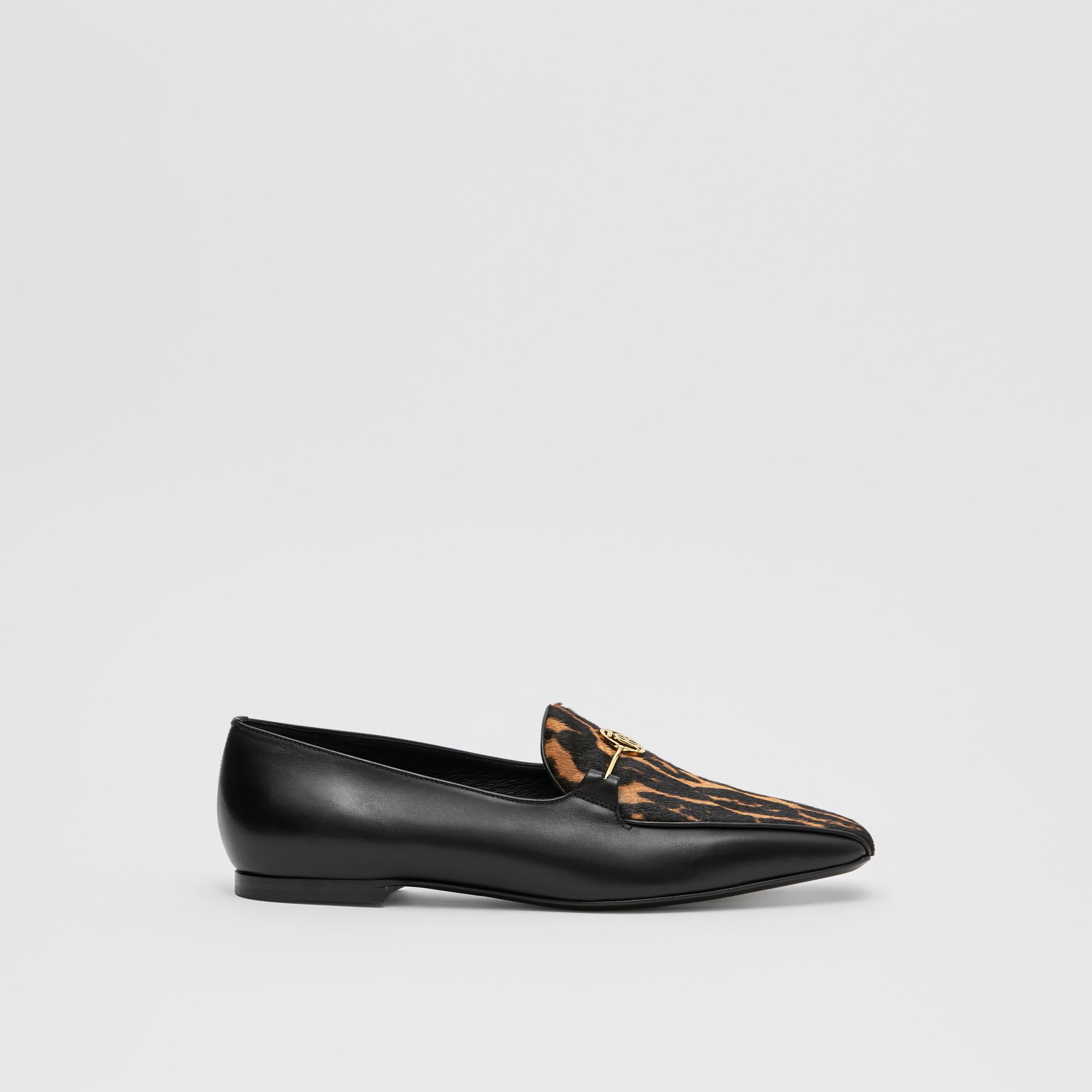 Leopard Print Calf Hair and Leather Loafers in Black/leopard - Women | Burberry United Kingdom - gallery image 5