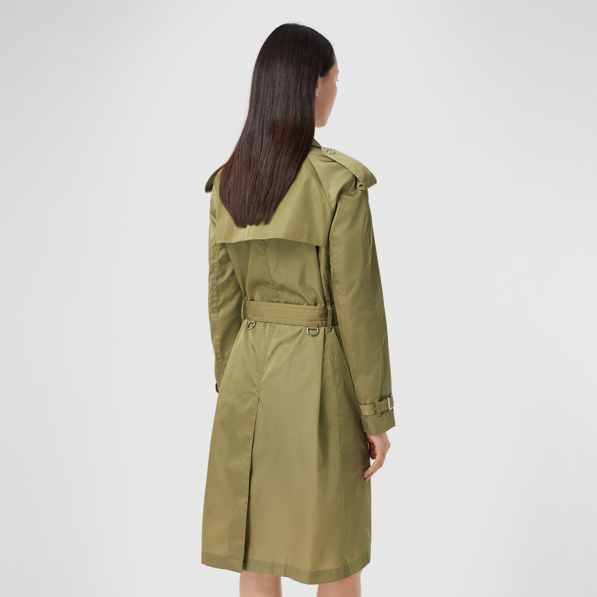 Press-stud Detail ECONYL® Trench Coat in Rich Olive - Women | Burberry - gallery image 2