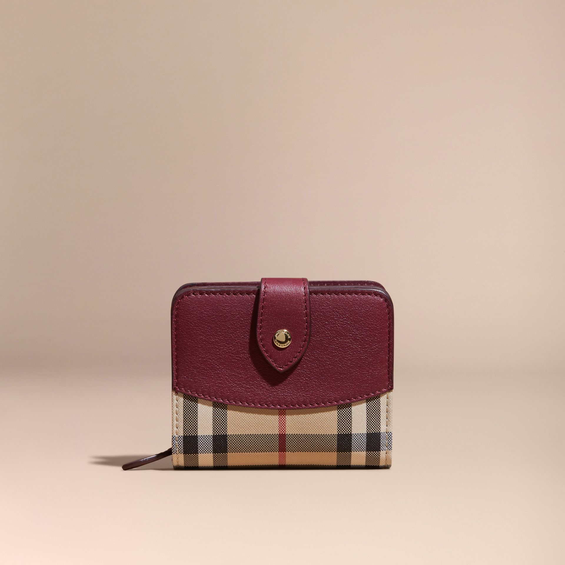 Dark plum Horseferry Check and Leather Wallet Dark Plum - gallery image 6