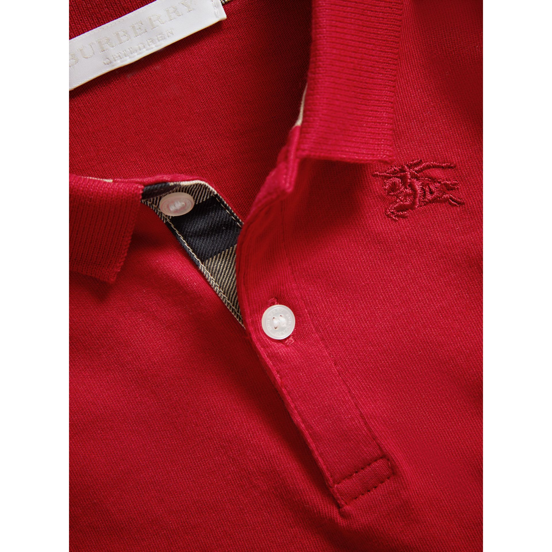 Check Trim Long-sleeved Cotton Polo Shirt in Military Red | Burberry United Kingdom - gallery image 1
