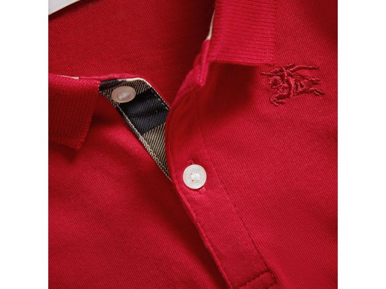 Check Trim Long-sleeved Cotton Polo Shirt in Military Red | Burberry United Kingdom - cell image 1