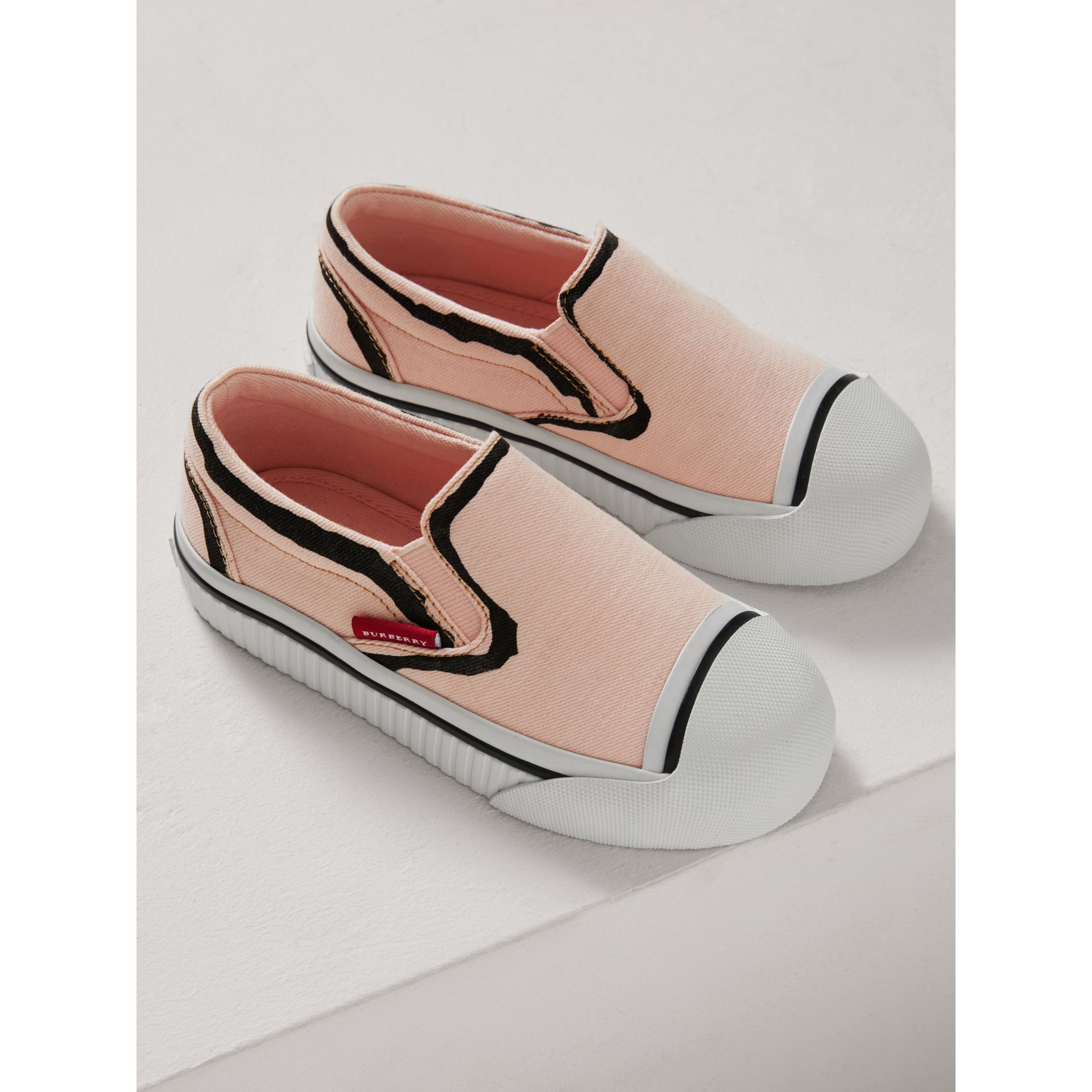 Scribble Print Slip-on Sneakers in Pale Rose Pink | Burberry - gallery image 3