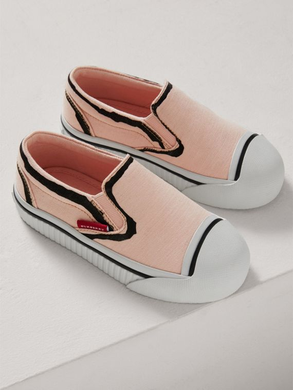 Scribble Print Slip-on Sneakers in Pale Rose Pink | Burberry - cell image 3