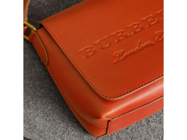 Small Embossed Leather Messenger Bag in Dark Clementine - Women | Burberry United States - cell image 1