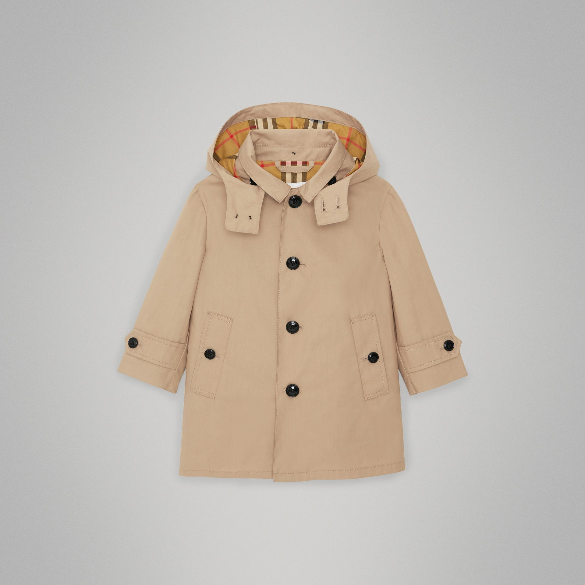 Detachable Hood Cotton Car Coat in Honey - Children | Burberry - gallery image 0