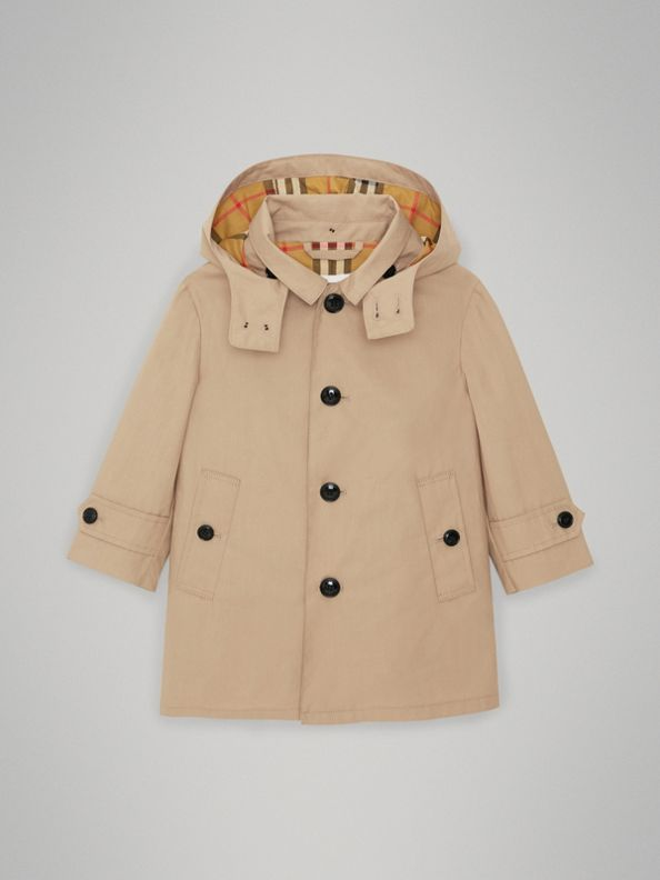 Пальто из хлопка со съемным капюшоном (Медовый)