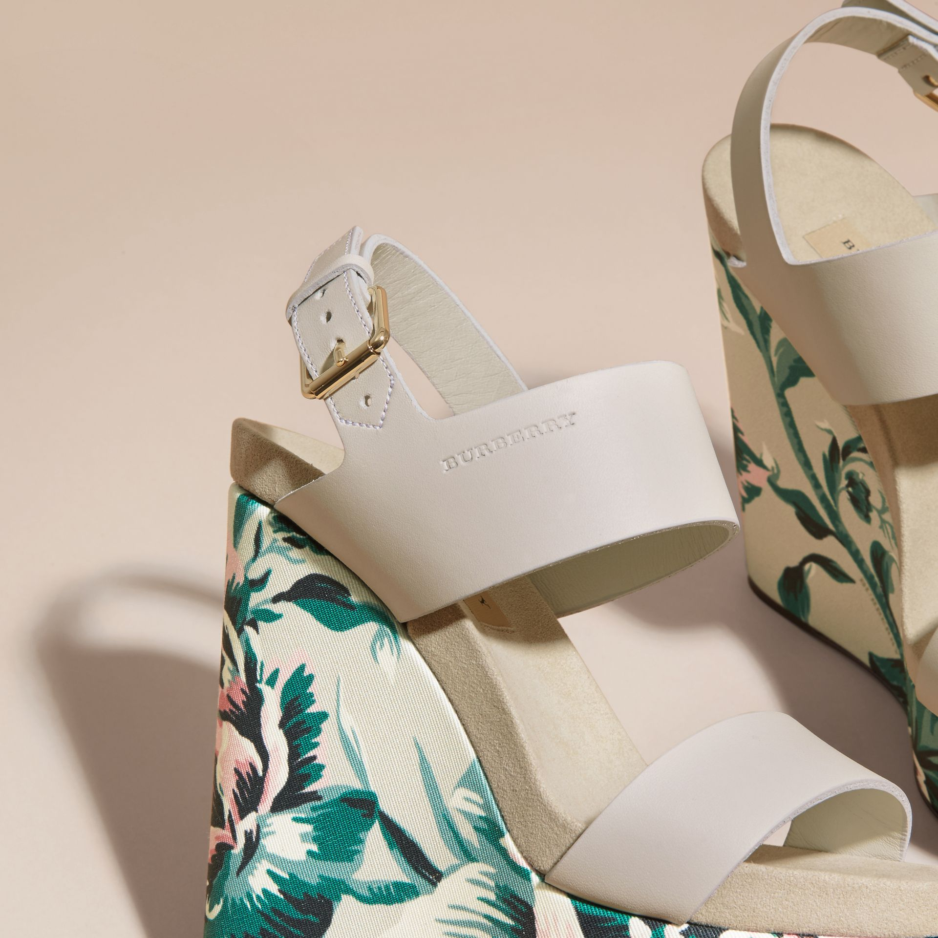 Peony Rose Print Leather Platform Wedges Emerald Green - gallery image 2