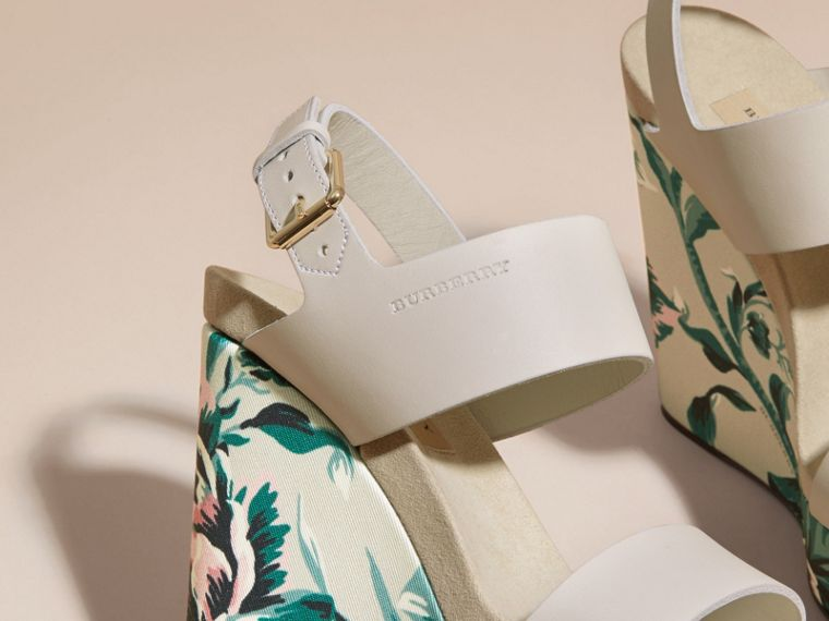 Peony Rose Print Leather Platform Wedges Emerald Green - cell image 1