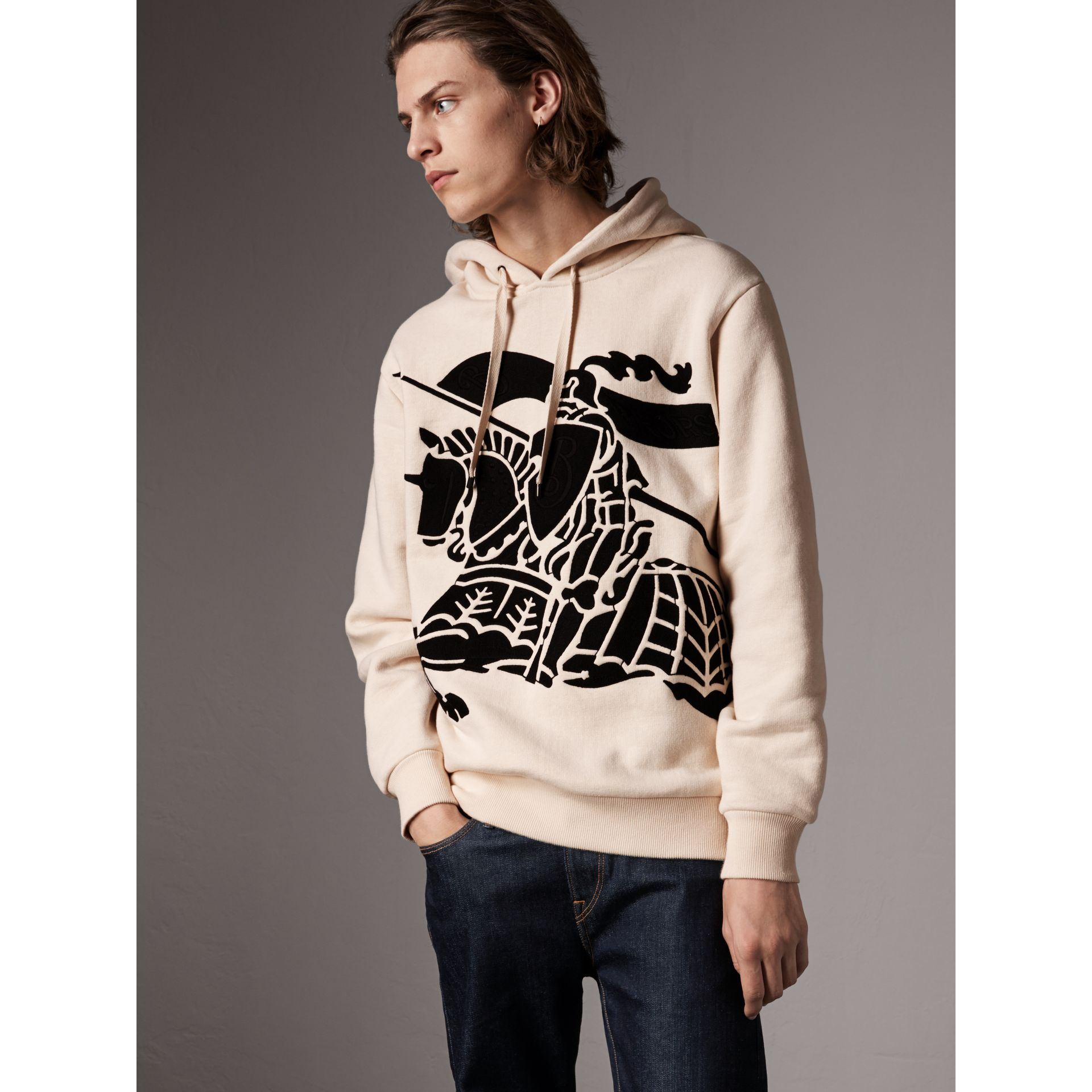 Equestrian Knight Device Cotton Hooded Sweatshirt in Natural White - Men | Burberry - gallery image 1