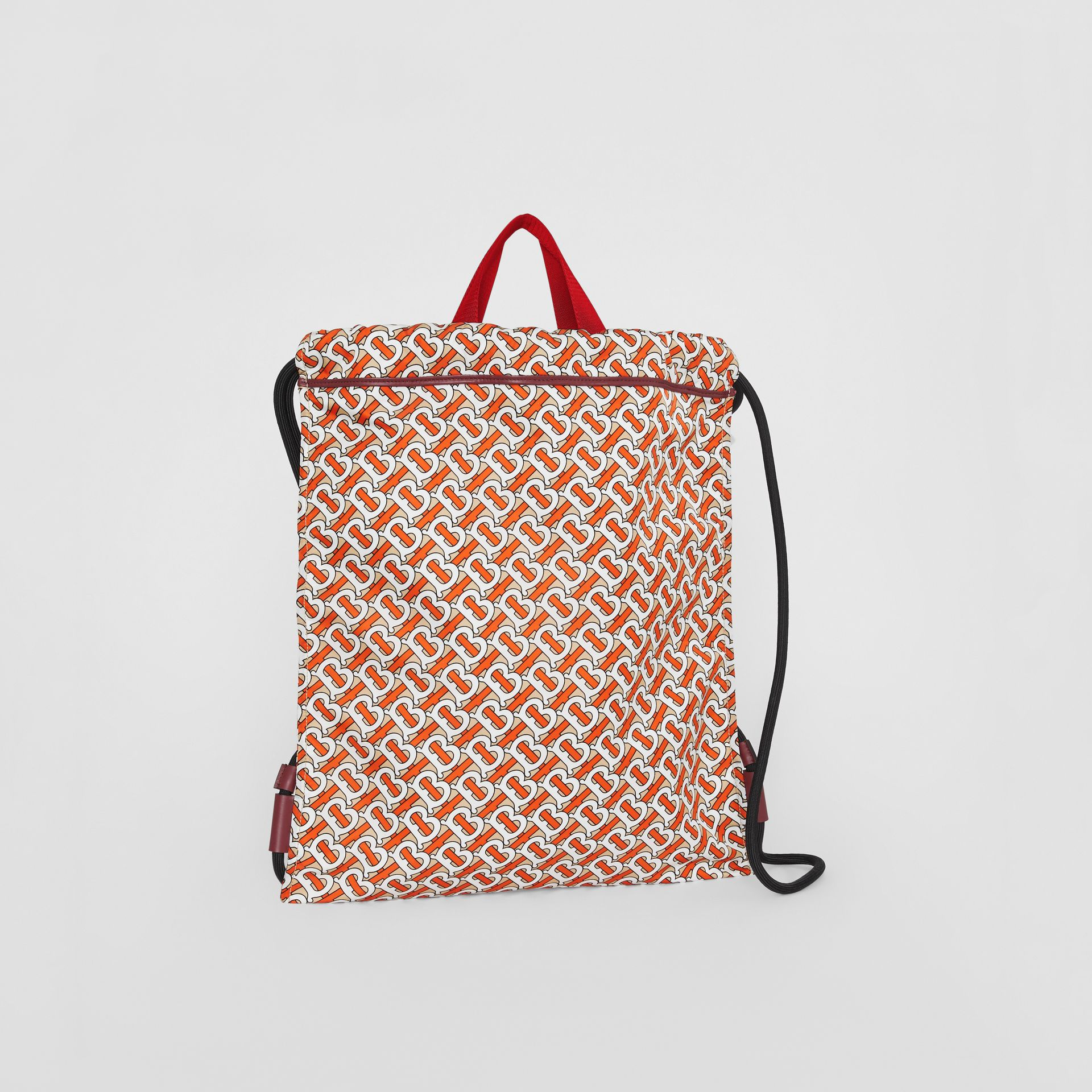 Monogram Print Nylon Drawcord Backpack in Vermilion - Men | Burberry Canada - gallery image 6
