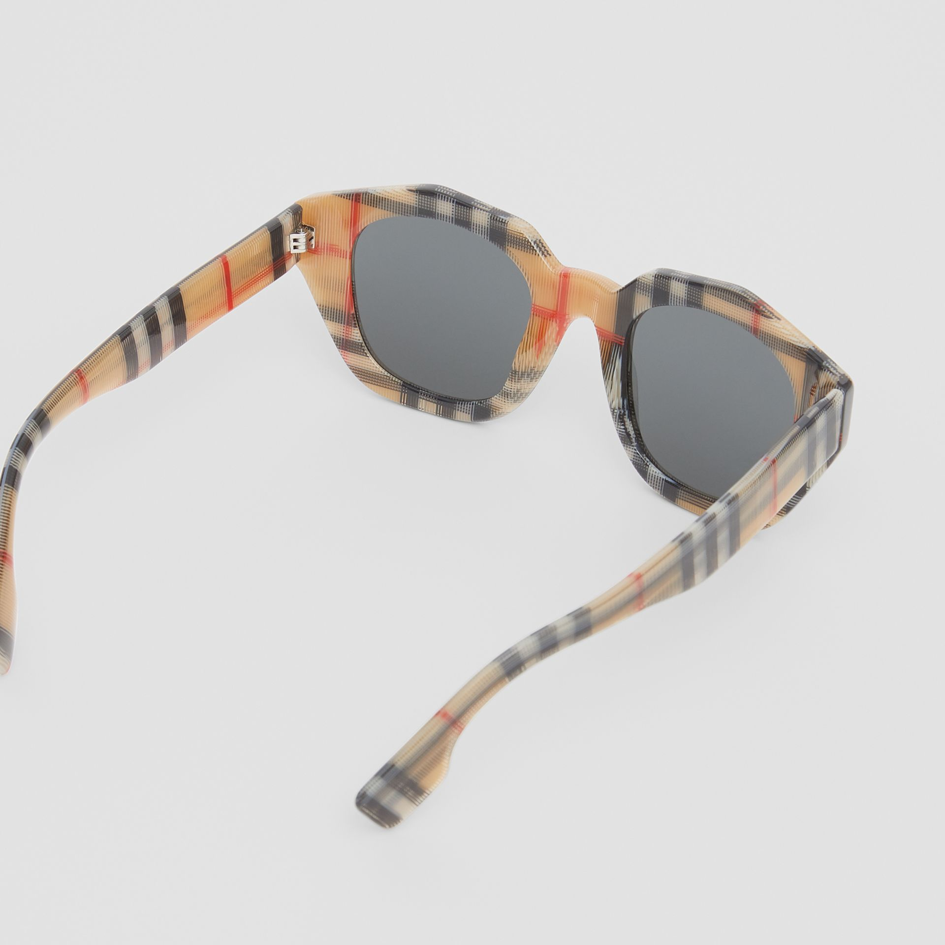 Vintage Check Geometric Frame Sunglasses in Antique Yellow - Women | Burberry Hong Kong - gallery image 3