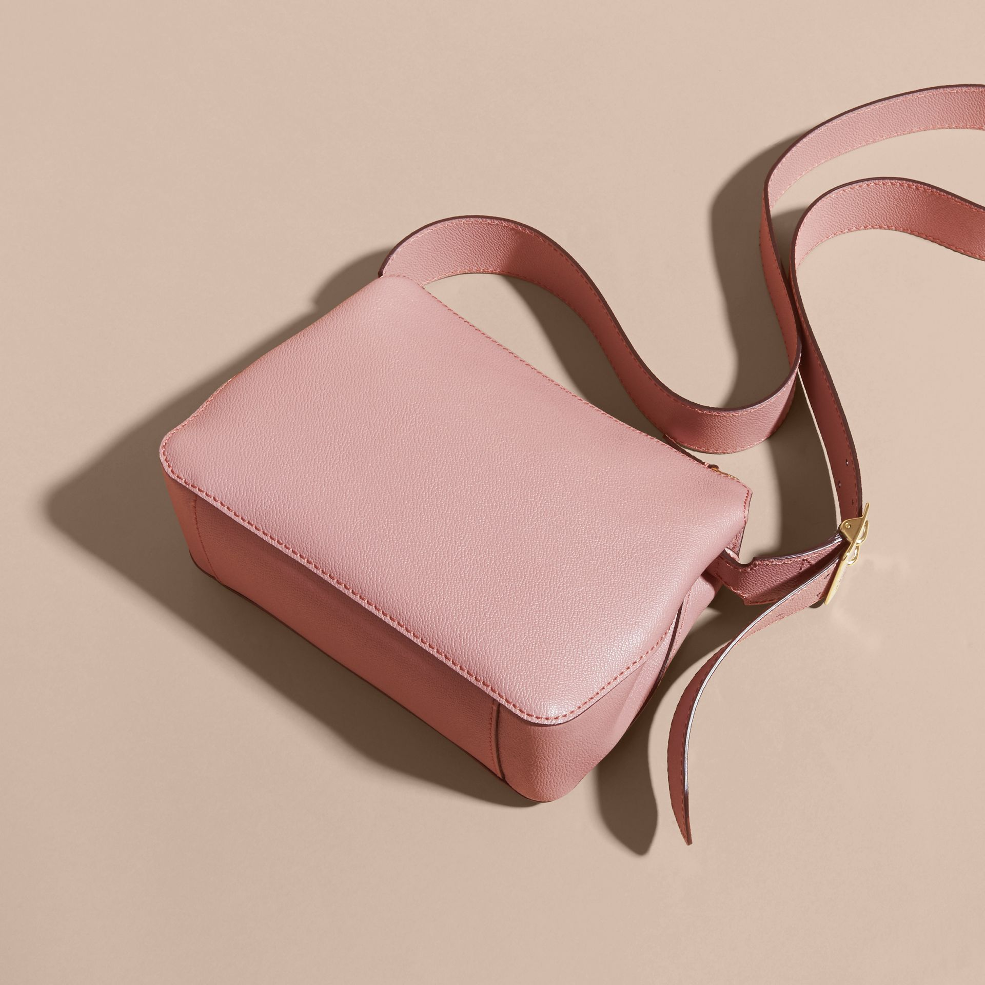 Buckle Detail Leather Crossbody Bag Dusty Pink - gallery image 4